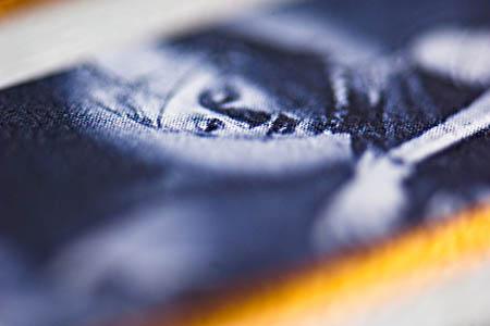 Detajl z etikete. Sveti Martin. Lepo je v pasu ostrine videti, kako je slika sestavljena iz drobnih pikic. Iz večjih, kjer je temnejša in iz manjših, kjer je svetlejša. Delna rozeta, ker sta uporabljeni dve barvi. Določen odtenek modre in črna. 105 mm, F/4,8, 1/25 sek.